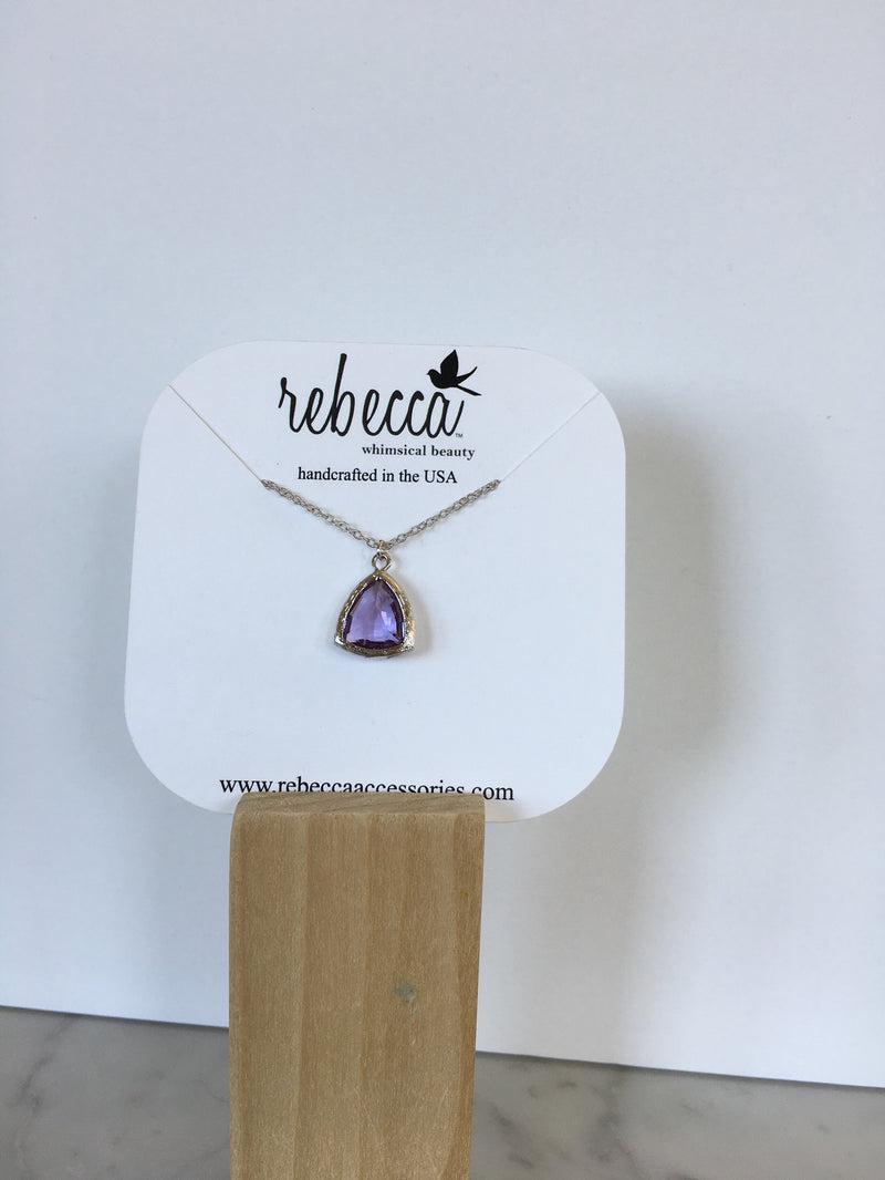 Plum Triangle Gemstone Necklace