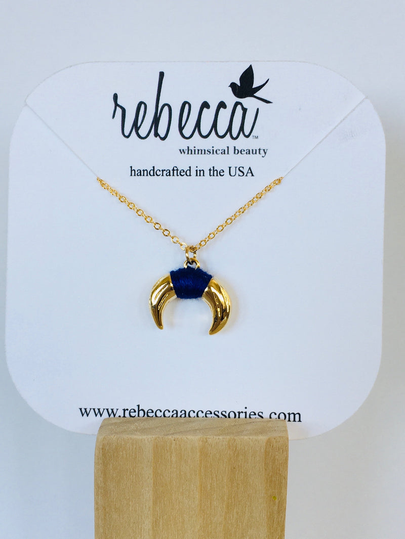 Horn with Blue Accent Necklace