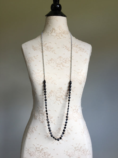 Black Agate Extra Long Necklace