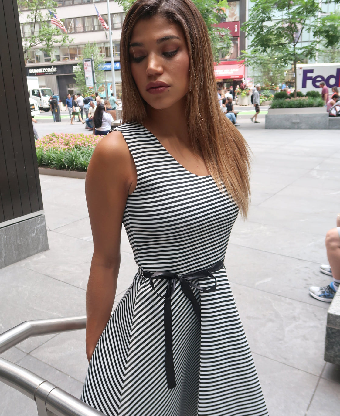 High Low A-Line Super Techno B&W Striped Dress