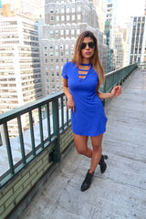 Short Sleeve Deep V Mini Dress