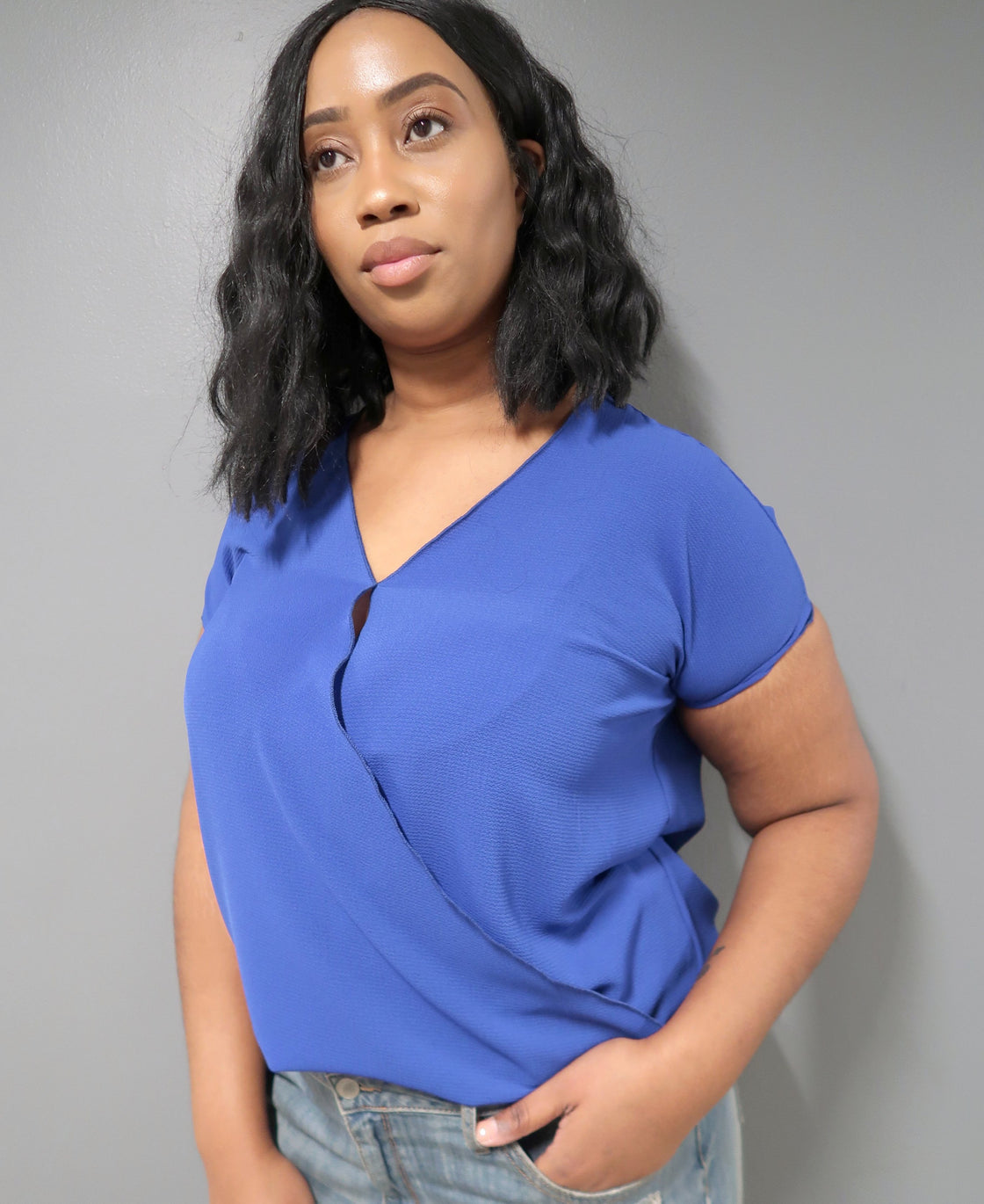 Plus Size Short Sleeve V-Neck Top