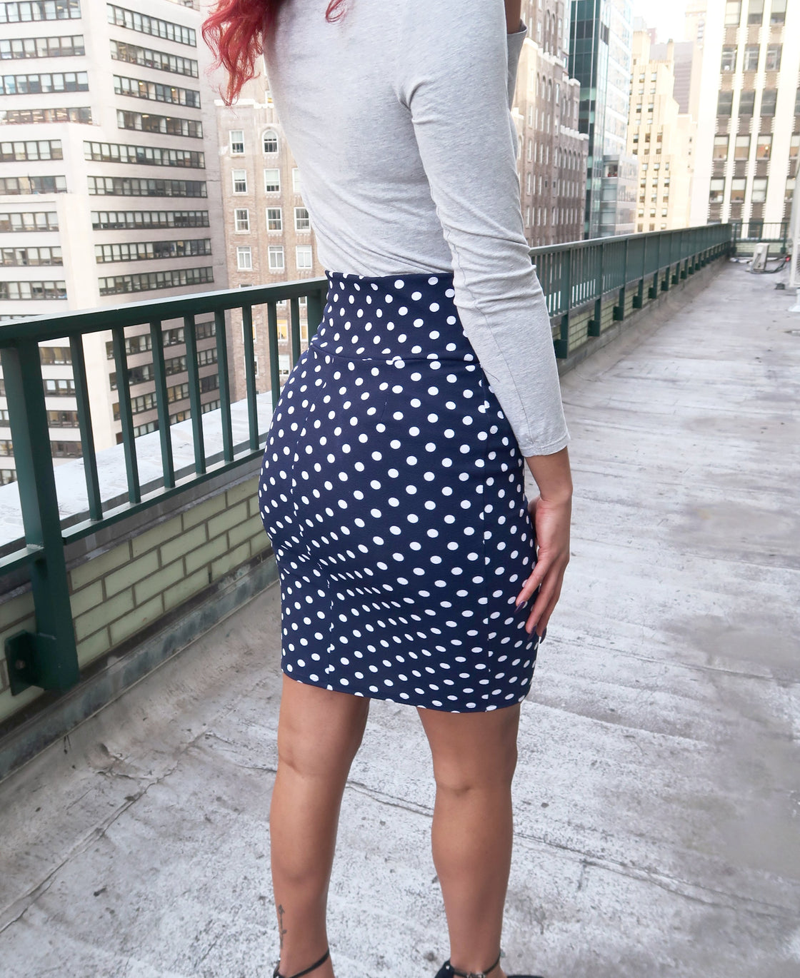 Midi Bodycon Pencil Skirt in Navy White Polka Dot