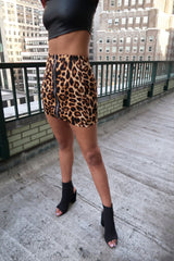 Exposed Zip Front O-Ring Mini Skirt in Leopard Print