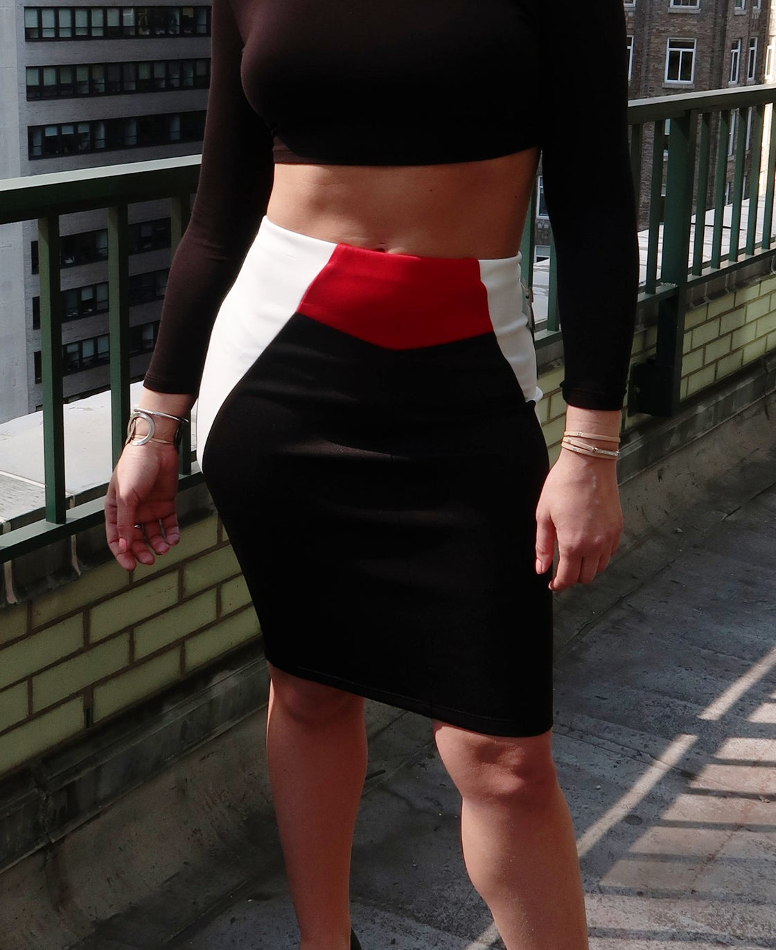 Color Blocked Midi Pencil Skirt