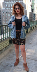 Zip Front O-Ring Camo Mini Skirt