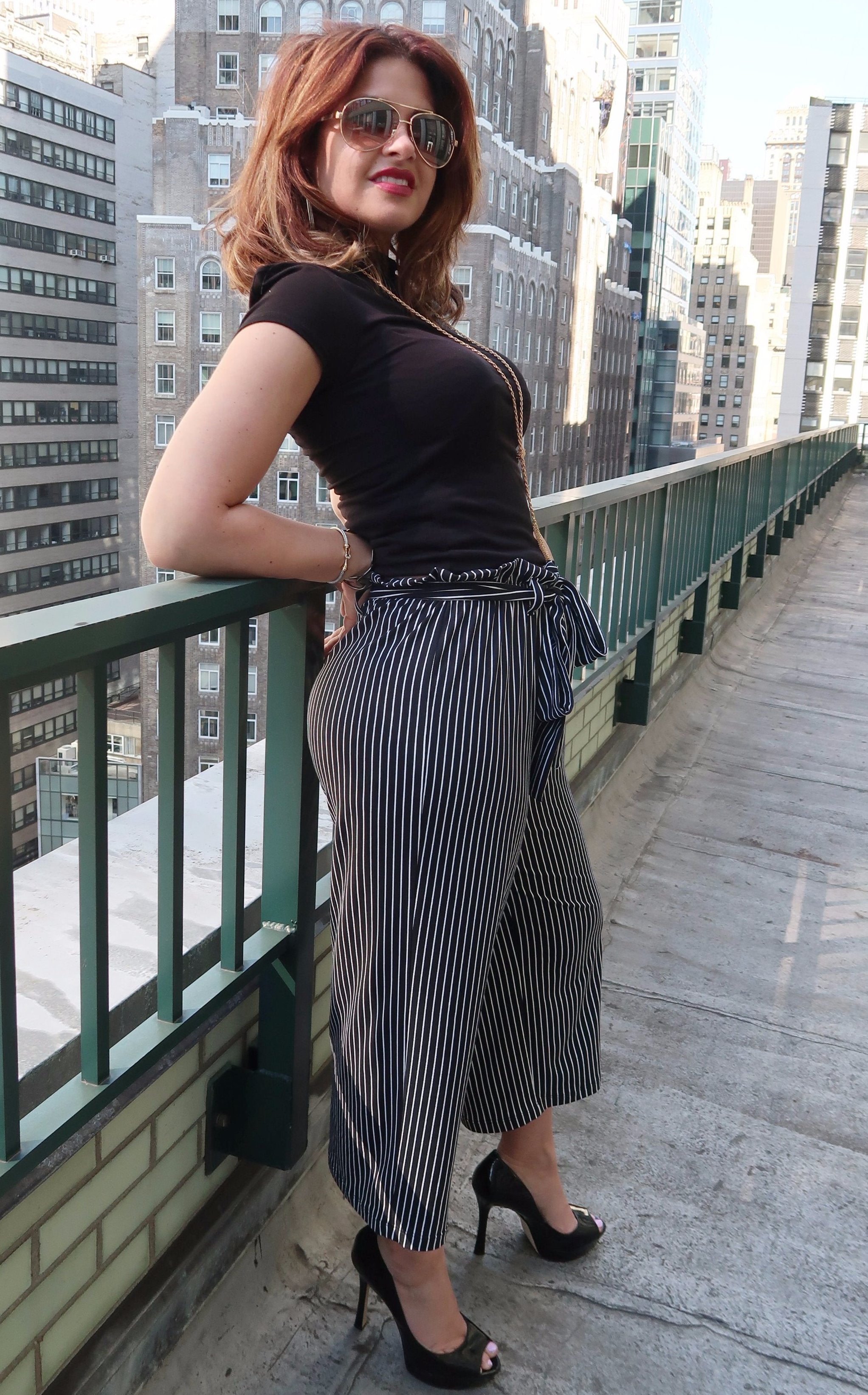 Black and White Striped Gaucho Pant