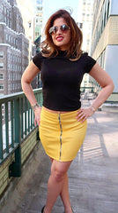 Zip Front O-Ring Mustard Mini SKirt