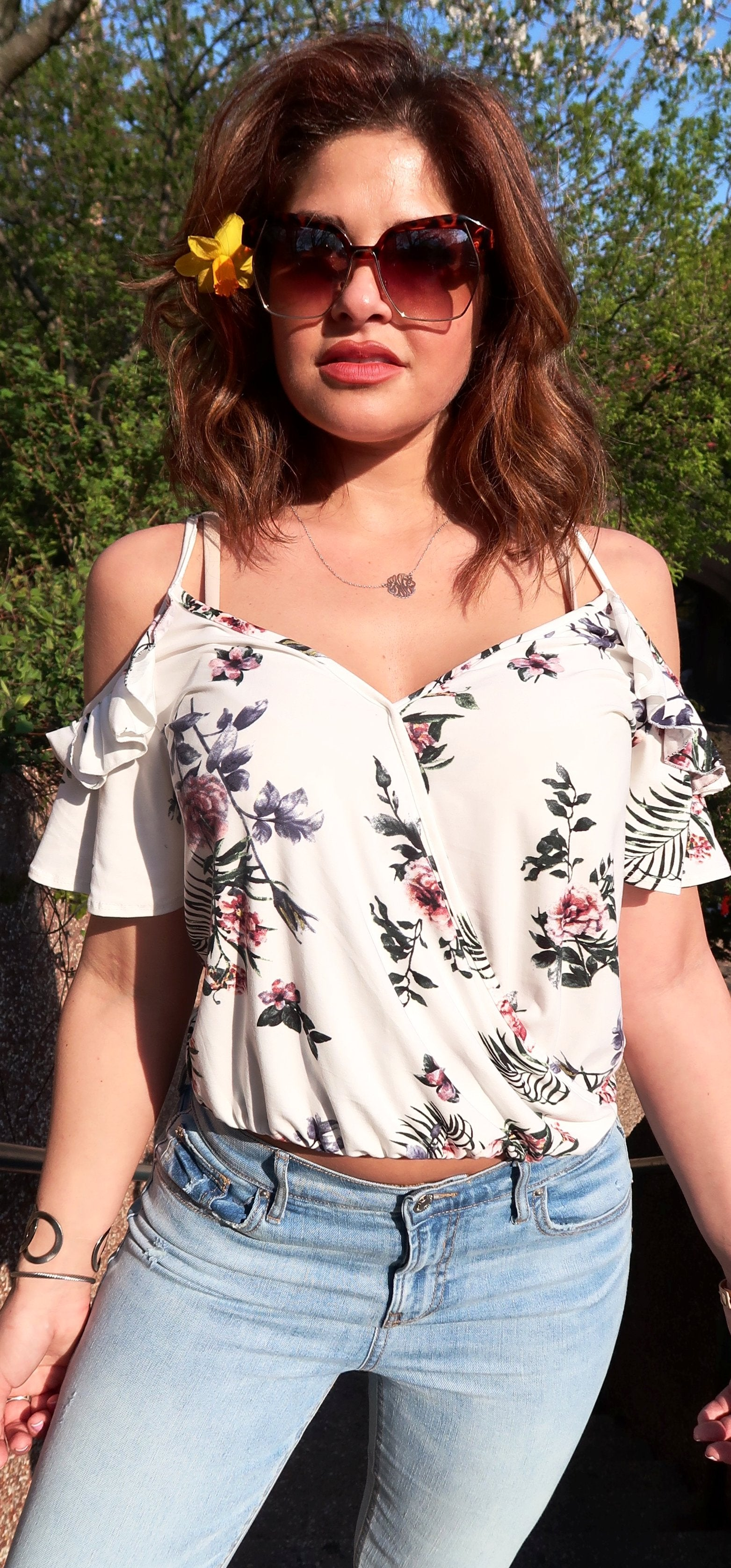 Cold Shoulder Surplice Floral Top