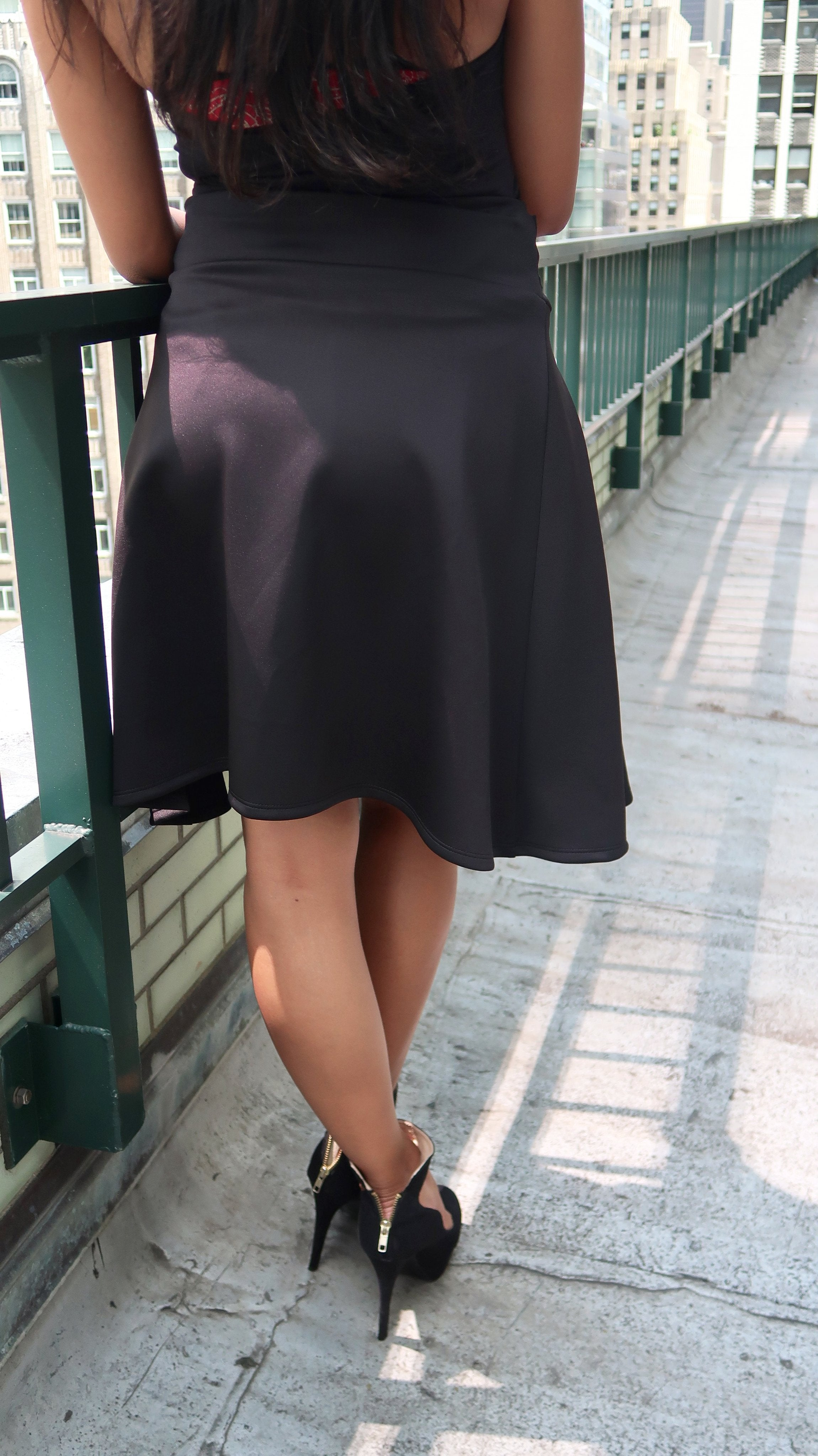High Low Tie Front A-Line Boxed Pleat Black Skirt