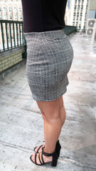 Zip Front O-Ring Plaid Mini Skirt
