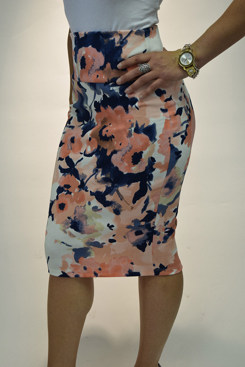Stretch Midi Pencil Skirt in watercolor florals