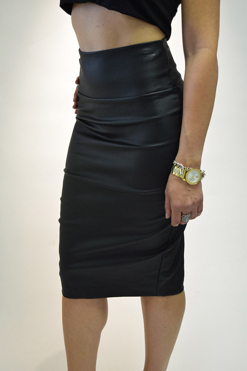 Pleather Back Zip Midi Pencil Skirt