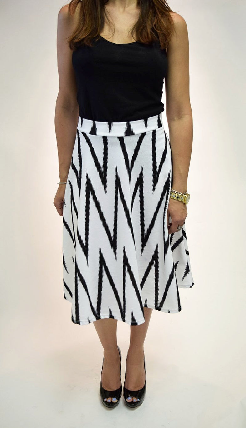 Tea Length Chevron Printed Flared Skirt