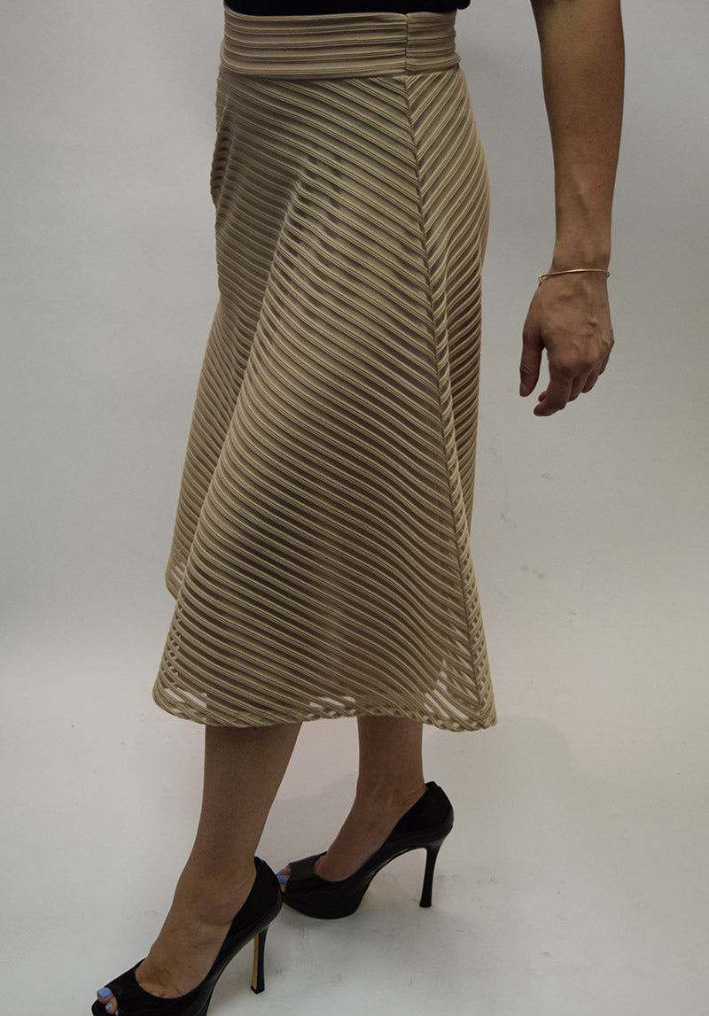 A-line Flared Midi Skirt in Striped Mesh