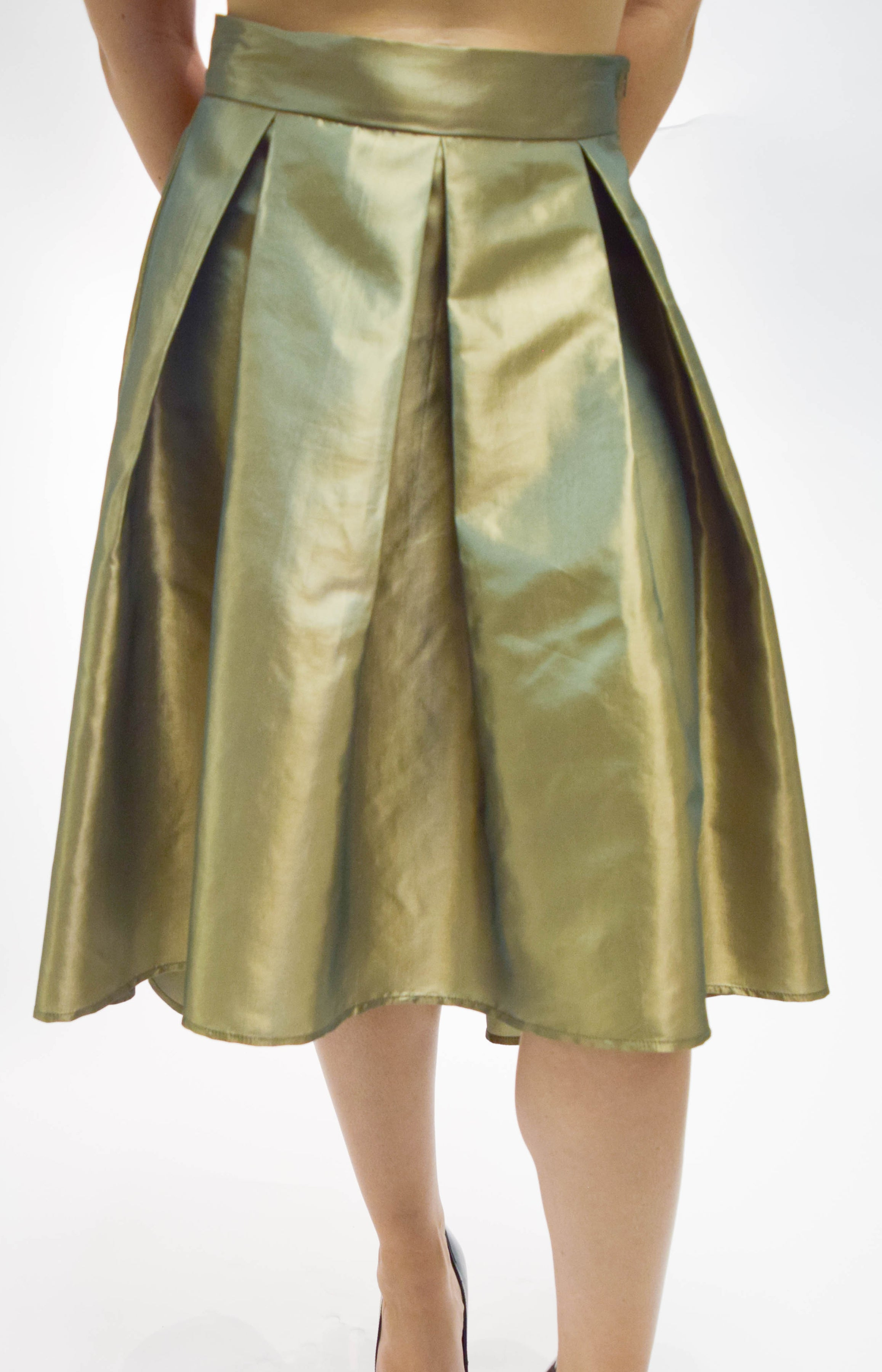 Gold Foil High Low Pleated Skirt