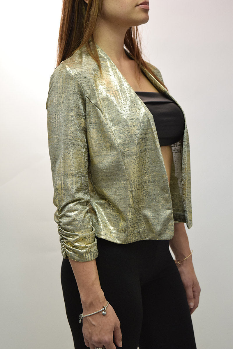 Open Front Rushed Sleeve Blazer