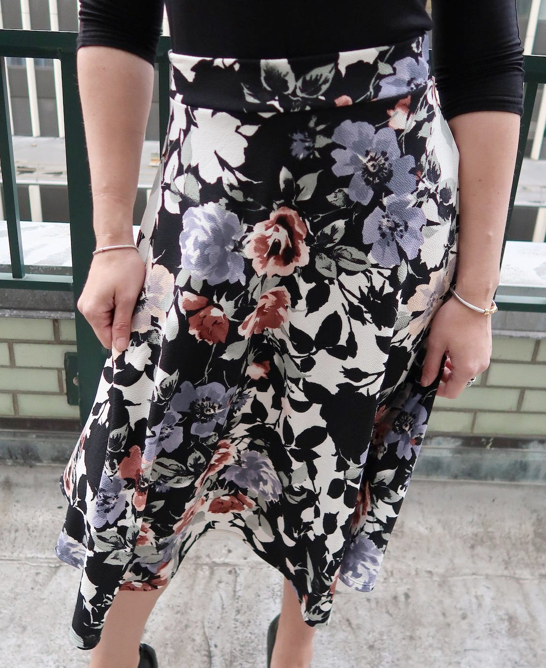 A-Line Tea Length Swing Skirt
