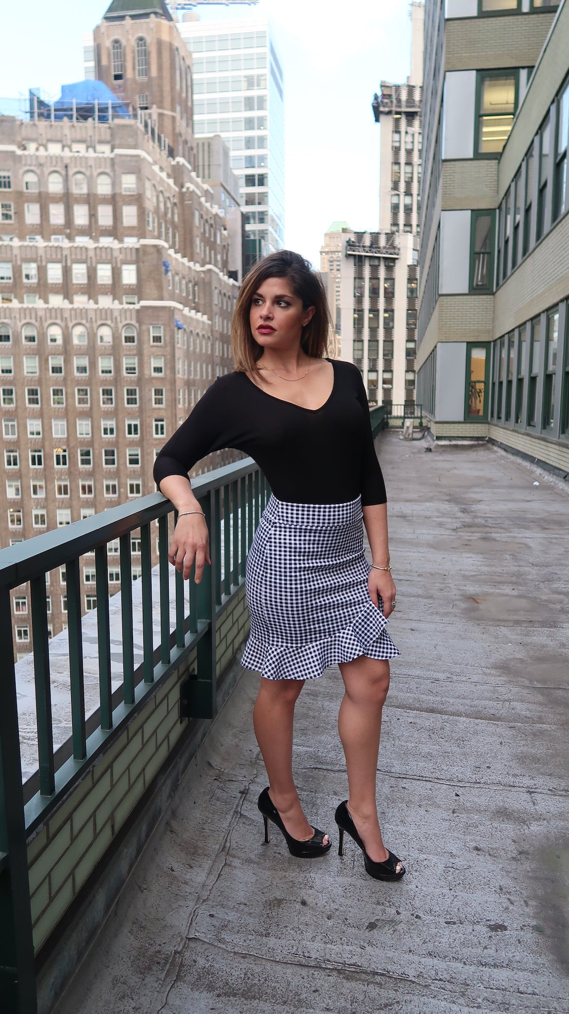 Asymentrical Ruffled Midi Pencil Skirt