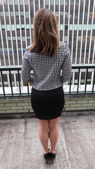 Gingham Fly Away Front Rouched Sleeve Blazer