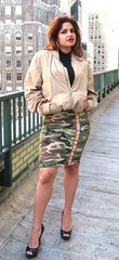 Camo Pencil Skirt w/ Rainbow Stripe