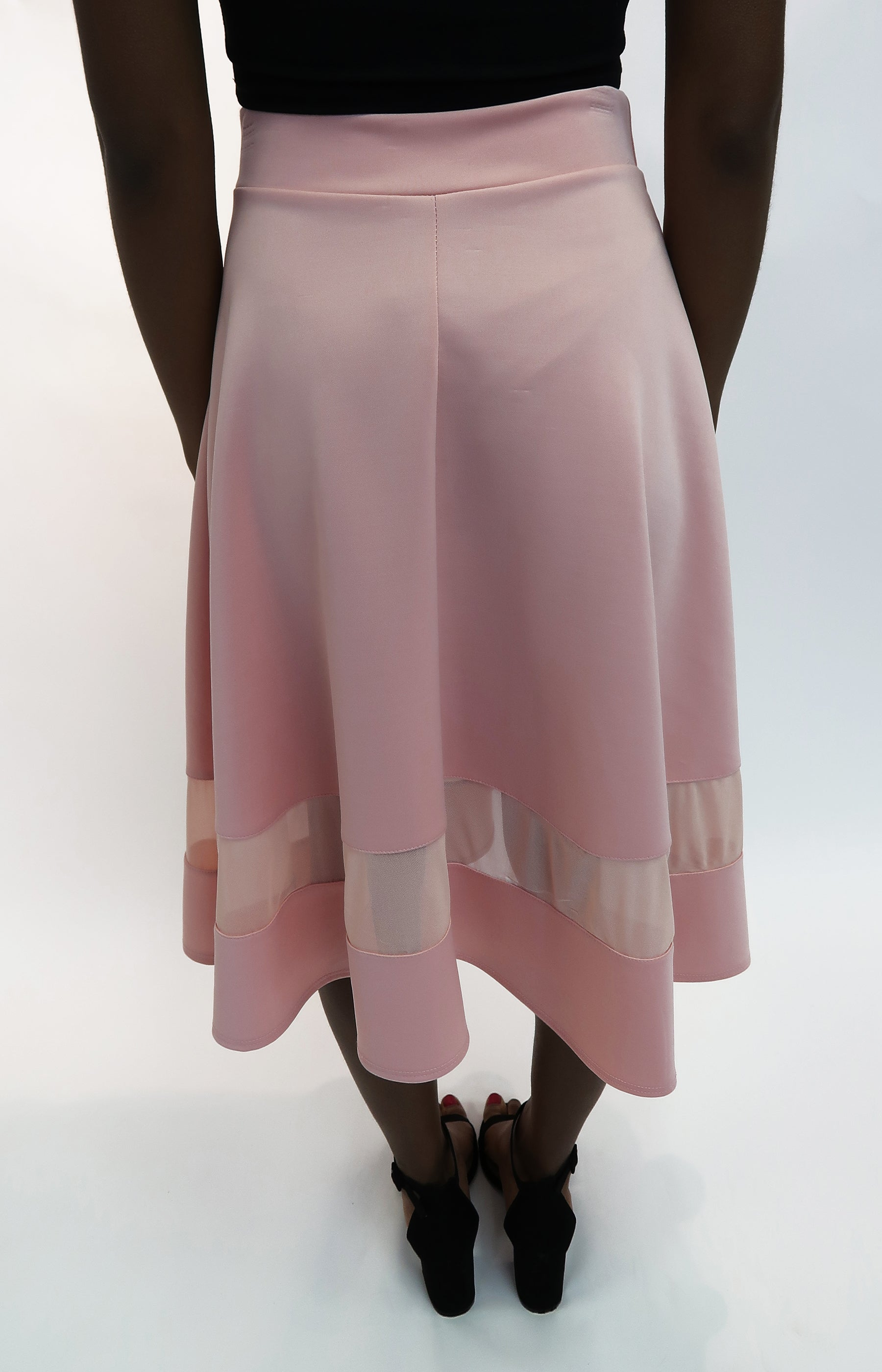 A-Line Flared midi skirt in light pink