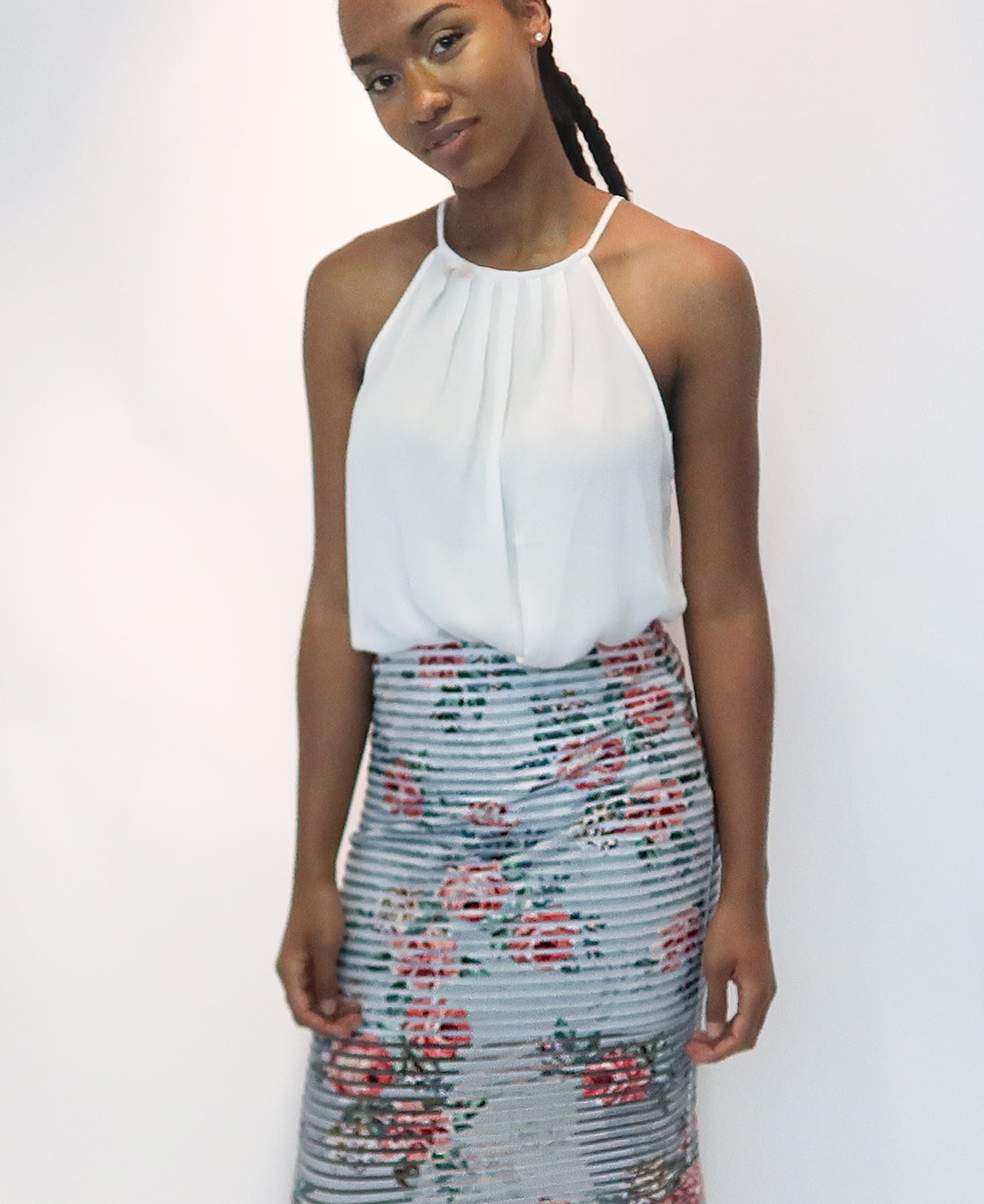 Floral Printed Striped-Mesh Midi Skirt