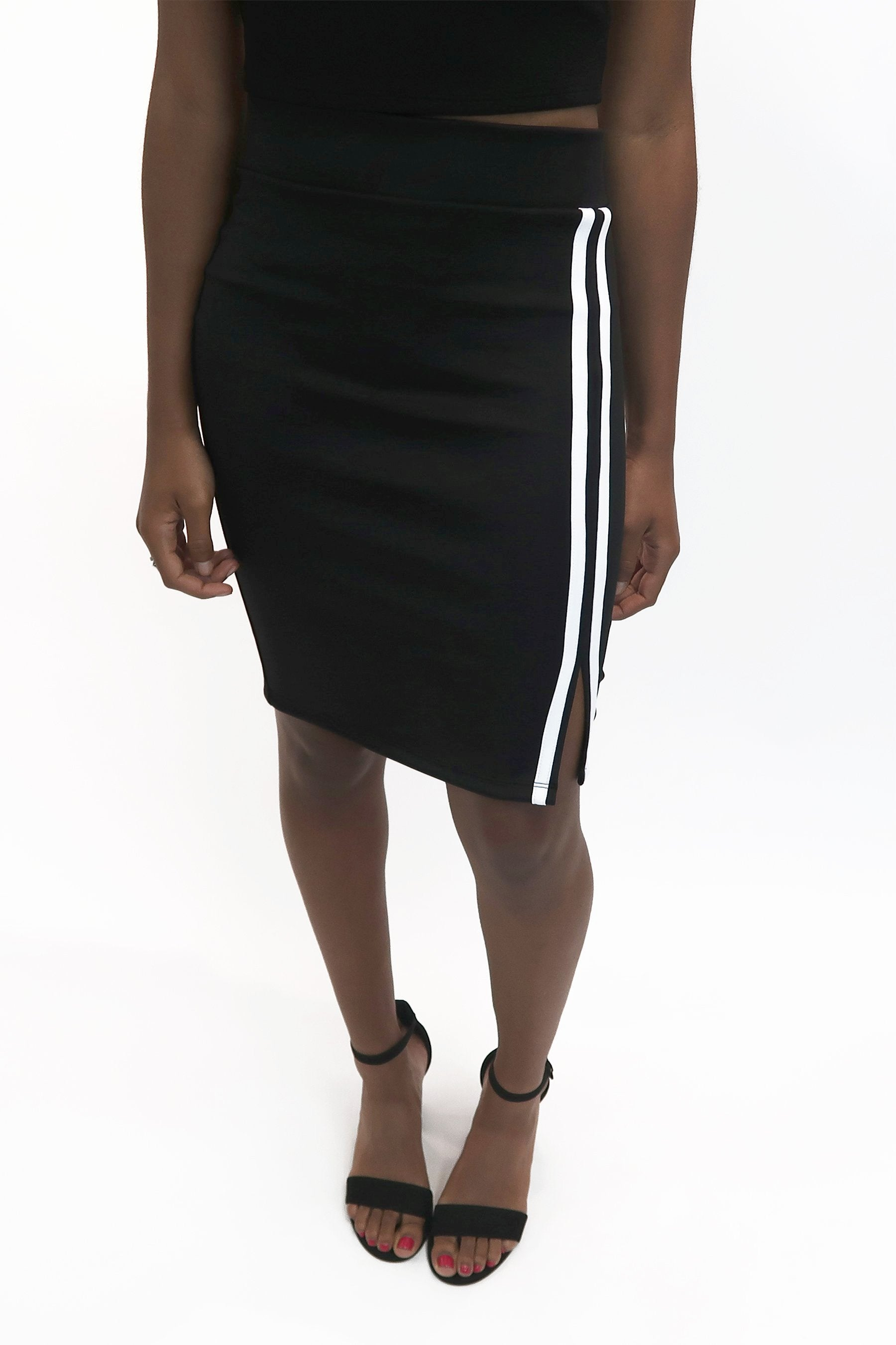 Side Stripe Stretchy Pencil Skirt