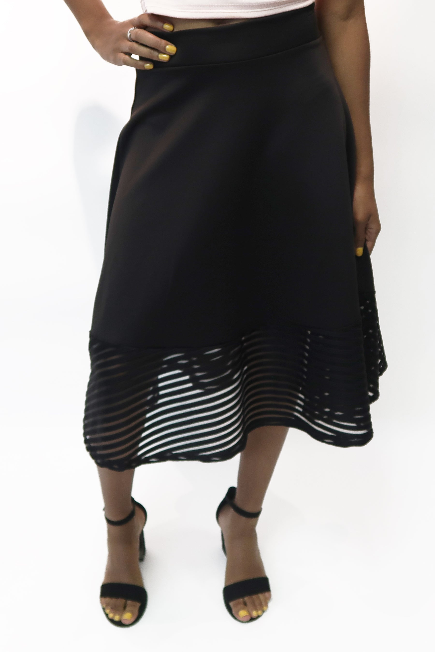 A-Line Flared Midi Skirt with Striped Mesh