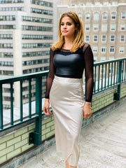 Side Zip Maxi Satin Skirt