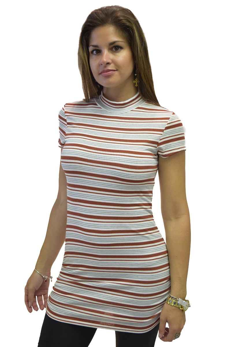 Short Sleeve Mock Turtle Neck Rushed Shirt Tail Tunic