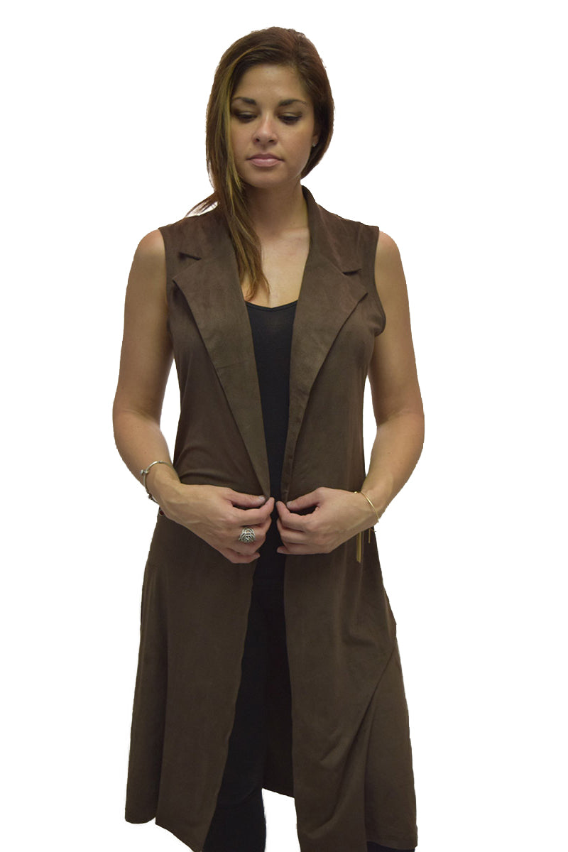 Full Length Notch Collar Vegan Suede Duster