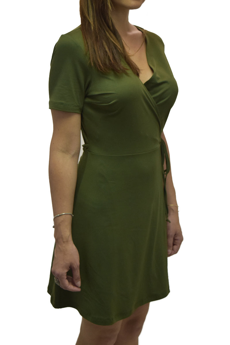 Short Sleeve Surplus A-line Wrap Dress