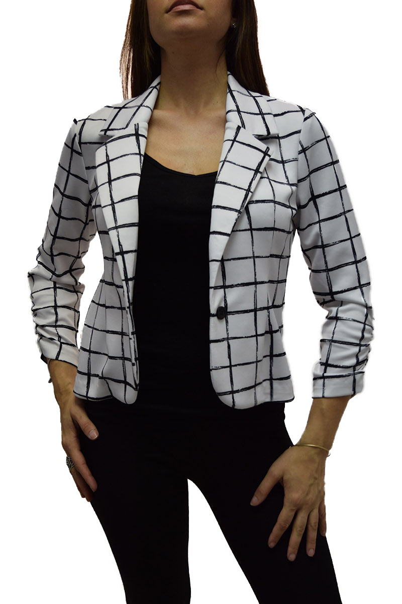 Single Button Notched Collar Ruched Sleeve Blazer
