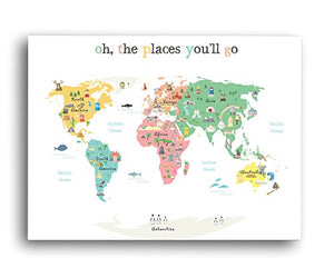 World map wall art oh the place youll go travel map world map world map wall art oh the place youll go travel map gumiabroncs Image collections