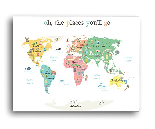 World map wall art oh the place youll go travel map world map world map wall art oh the place youll go travel map gumiabroncs Images