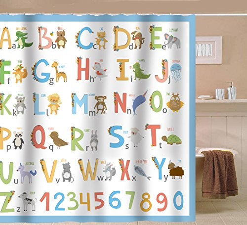 Sunlit Alphabet Fabric Shower Curtain For Kids ABC Learning Tool For Boys  And Babies Large A ...