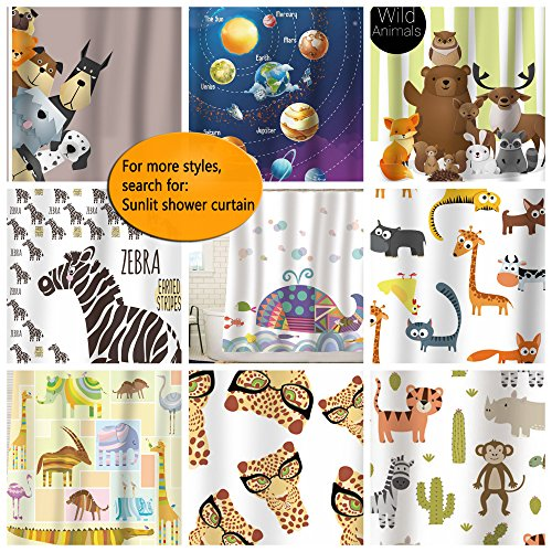 Sunlit Alphabet Fabric Shower Curtain For Kids ABC Learning Tool Boys And Babies Large A