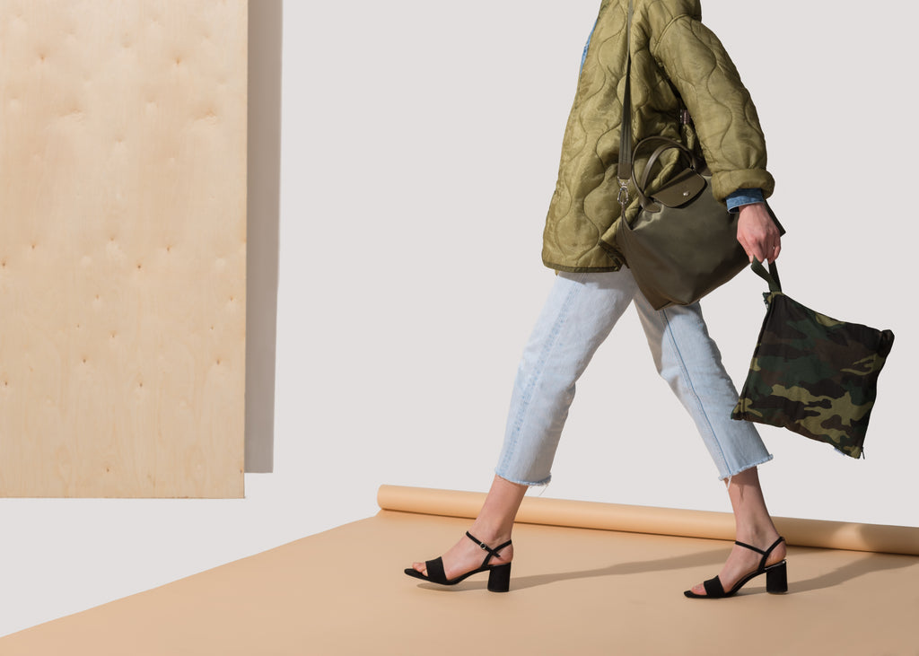 Model with Green Camo SHOOFIE shoe bag