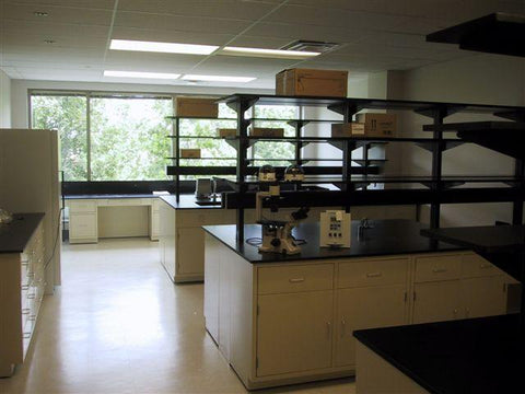 AMS 12 foot Metal Casework Island Assembly with Two Kneehole Cabinets - Government Lab Enterprises