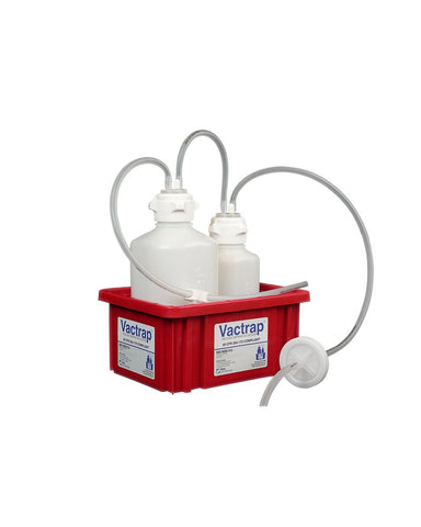 "Foxx Life Sciences 302-2101-FLS VacTrap, 2L + 1L, HDPE, Red Bin, 1/4"" ID Tubing Each (EA) - Government Lab Enterprises"