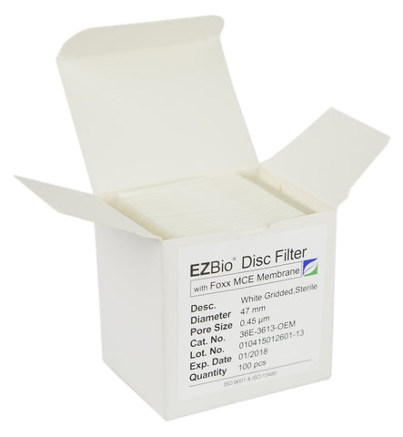Foxx Life Sciences 36E-3613-OEM EZBio Gridded Disc Filter, 0.45µm MCE, White and Gridded, 47mm, Sterile, 100/pack - Government Lab Enterprises