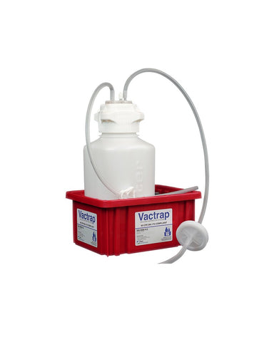 "Foxx Life Sciences 302-4001-FLS VacTrap, 4L, HDPE, Red Bin, 1/4"" ID Tubing Each (EA) - Government Lab Enterprises"