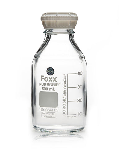 Foxx Life Sciences 1501024-FLS Borosil PUREGRIP® Bottles, Reagent, Transparent Graduated with GL45 Screw Cap and Pouring Ring, 500 mL, 10/case - Government Lab Enterprises