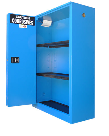Securall C245 45 gallon Self-Close, Self-Latch Corrosives Storage Cabinet with Sliding Door - Government Lab Enterprises