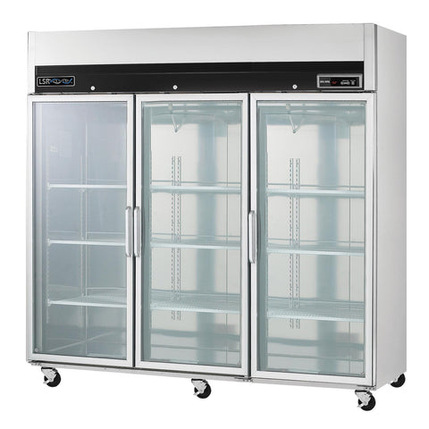 LSR LSRP-RG-72 Premium 3 Glass Door Refrigerator 72 cu.ft 115V - Government Lab Enterprises