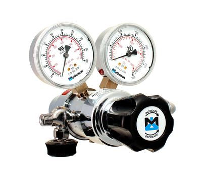 "Matheson Series 81 Dual Stage CO2 brass regulator (CGA 320) with 1/4"" outlet valve - Government Lab Enterprises"