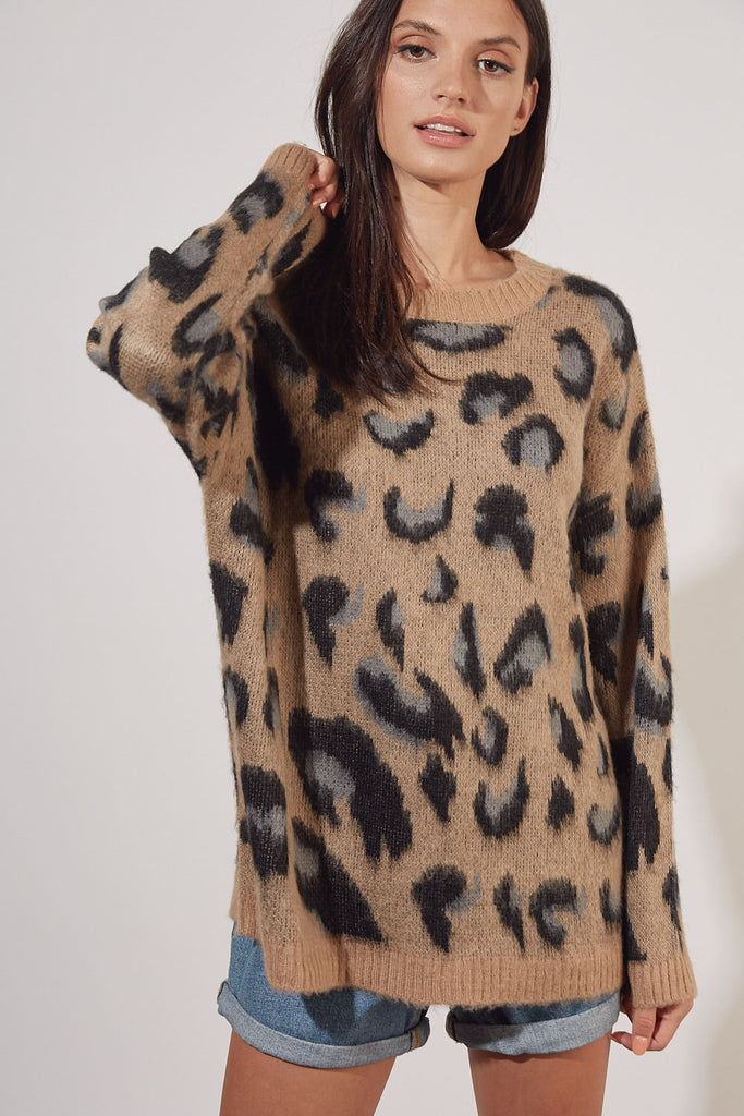 Livin' In Leopard Sweater- S15405-        More Colors Available