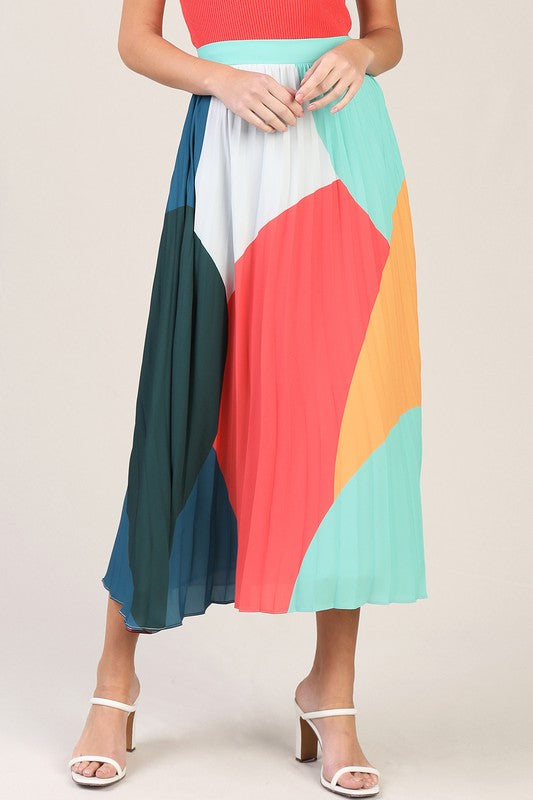 Colorblock Summer Midi Skirt