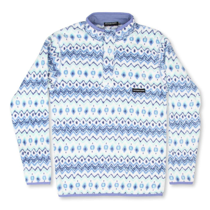 Southern Marsh Tangier Ikat Fleece Pullover- OIKPWTBL